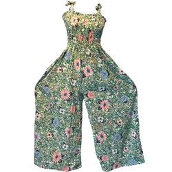 Vintage Green Floral Jumpsuit with Scrunch Top