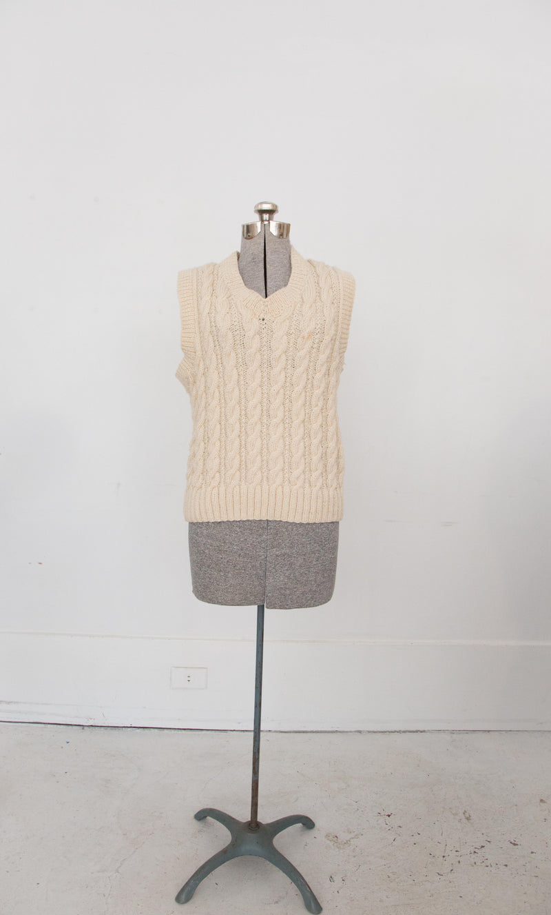 1970s cream cable knit vest