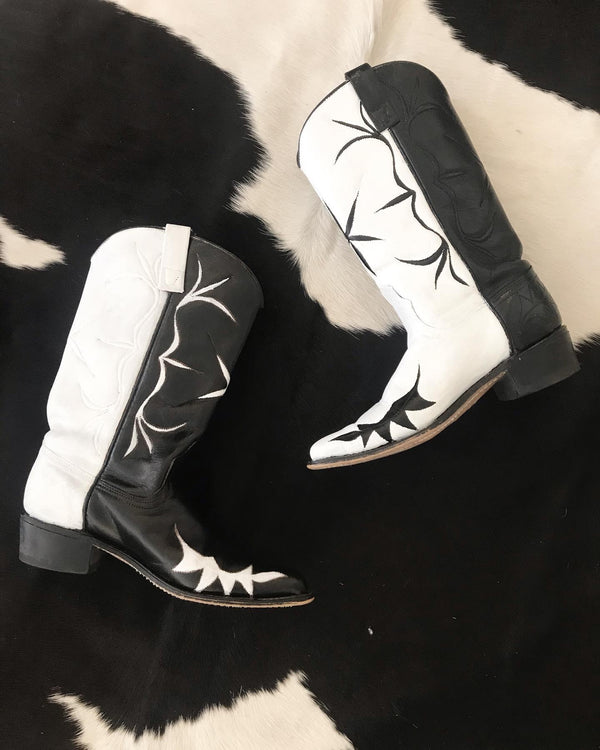 Upcycled Black and White Cowboy Boots