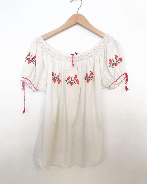 1970's Embroidered Top with Pintucking and Red Flowers