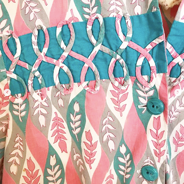 40's Faded Pink and Blue Print Dress