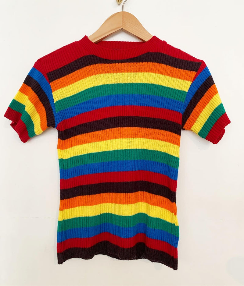 1970s knit rainbow striped top