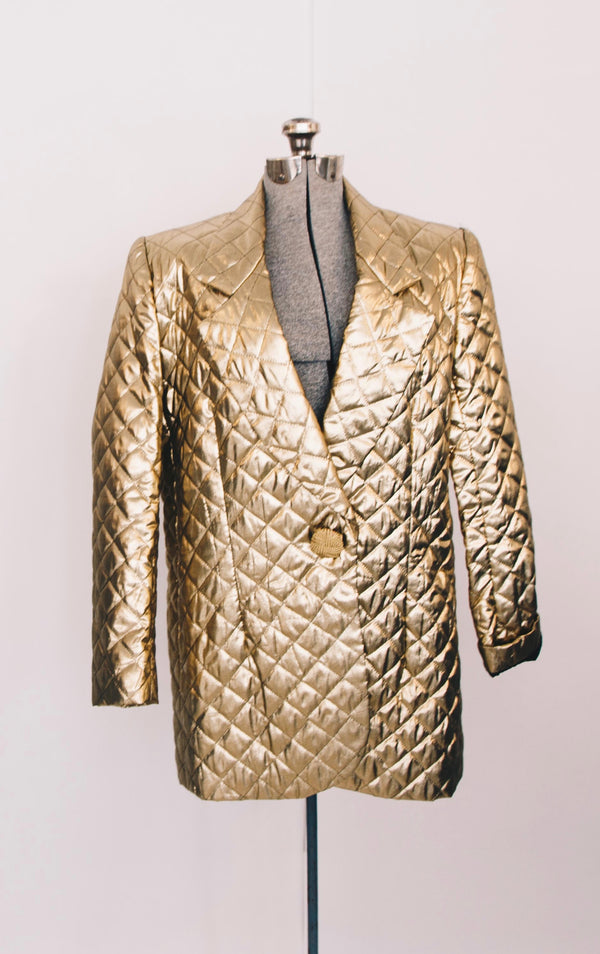 1980s gold quilted tuxedo balzer