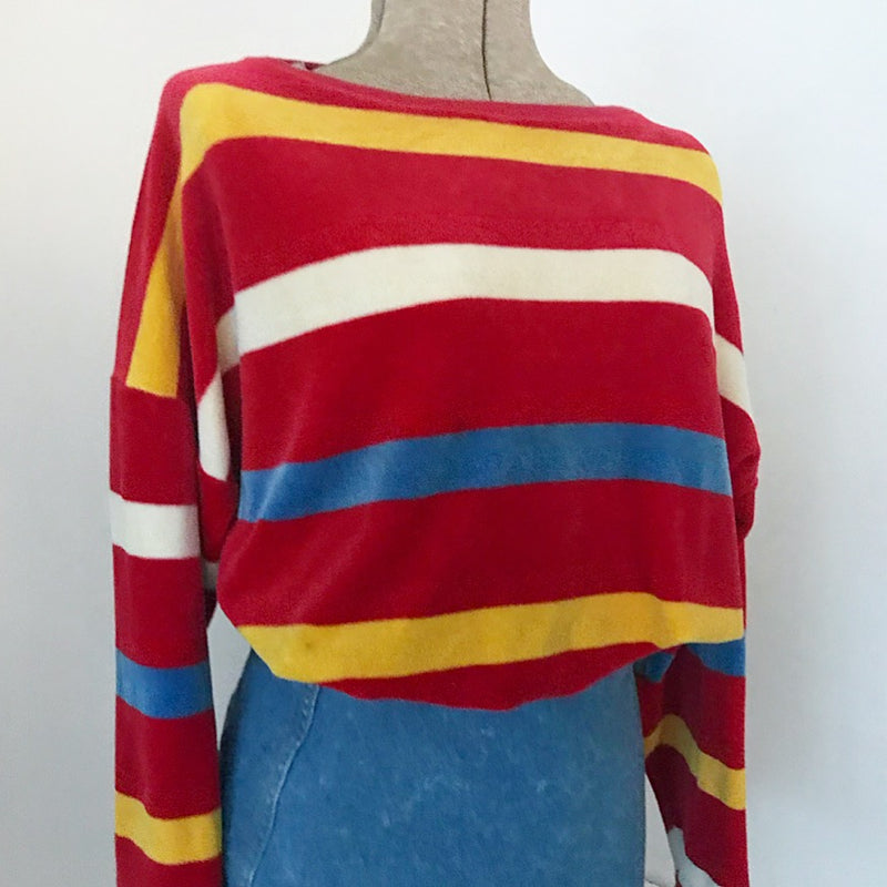 Ted Lapidus Striped Velour Sweater