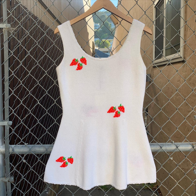 1970s Knit Strawberry Mini Tennis Dress