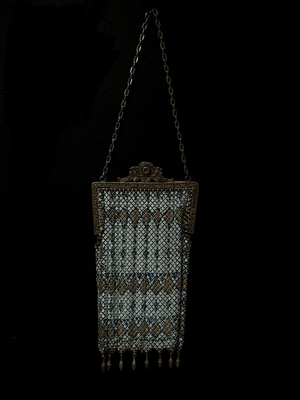 1920s Blue Metal Mesh Purse