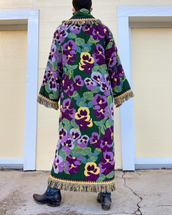 Vintage Pansy Tapestry Duster