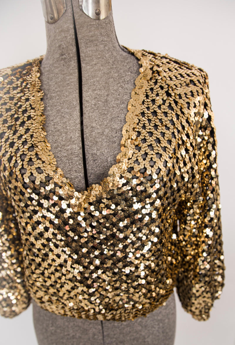 80s gold sequin cropped knit sweater