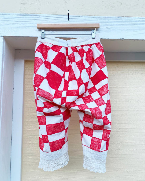 Upcycled vintage checkered longjohns