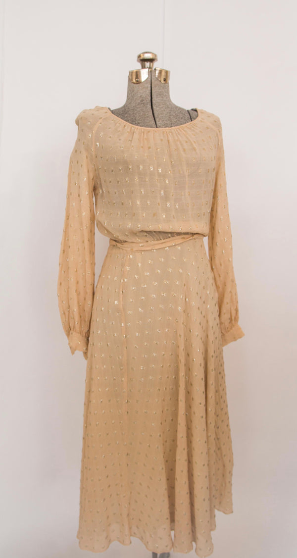 Vintage sheer dress with silver threads