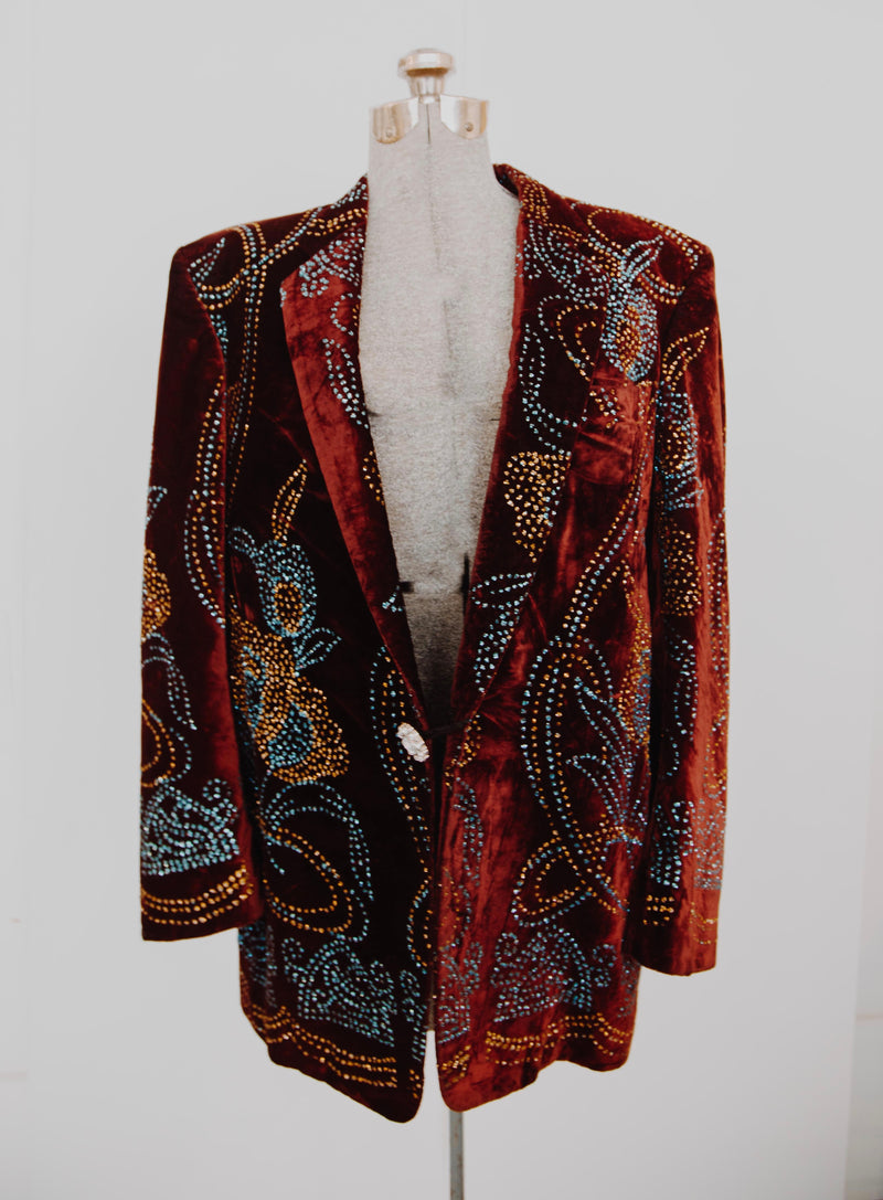 1980s crushed velvet bedazzled blazer