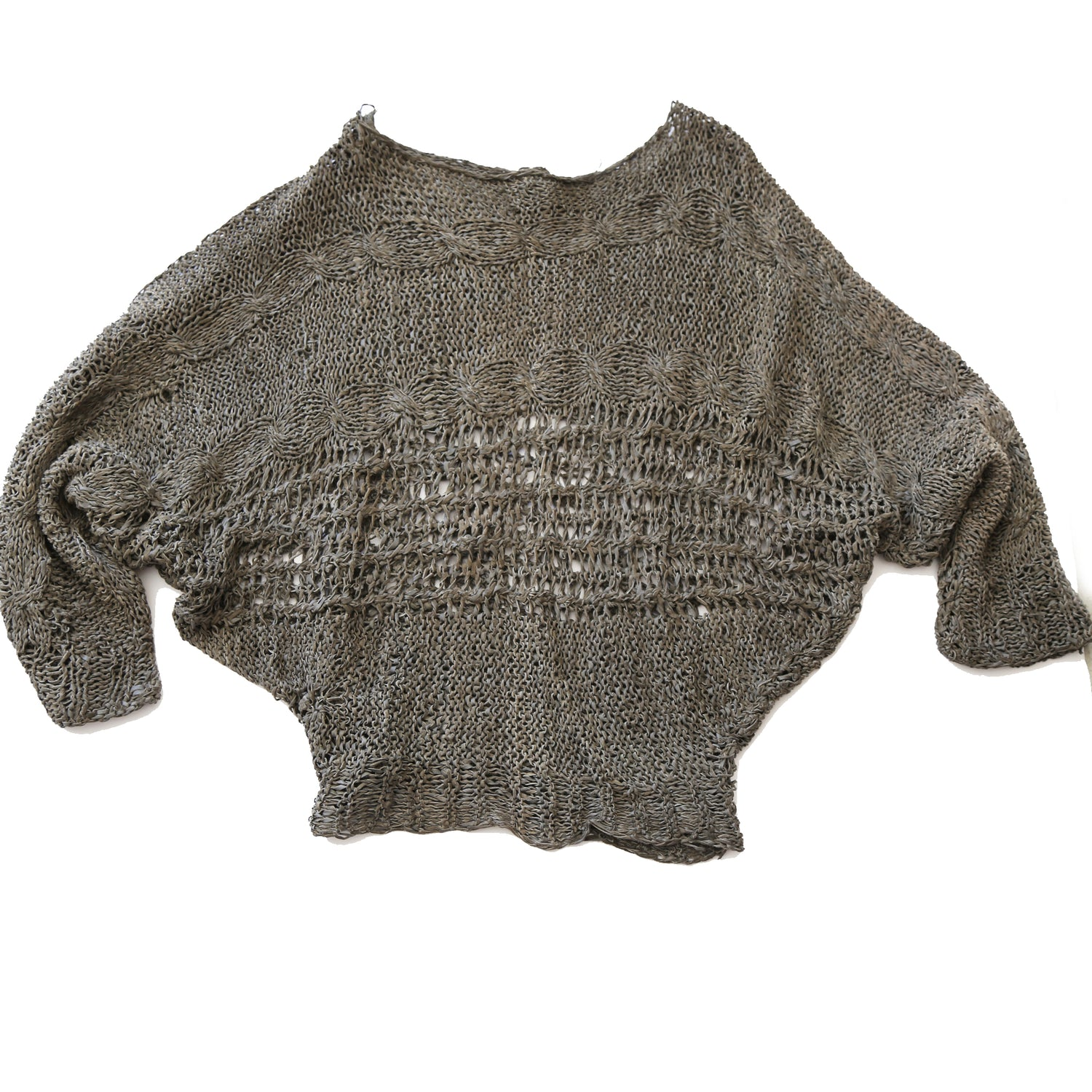 80's Grey Leather Crochet Sweater with Dolman Sleeves