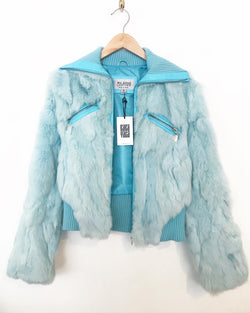 1980's Blue Rabbit Fur Bomber with Knit Collar