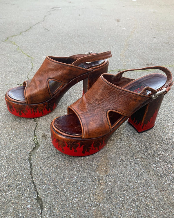 1970's Leather Flame Platforms