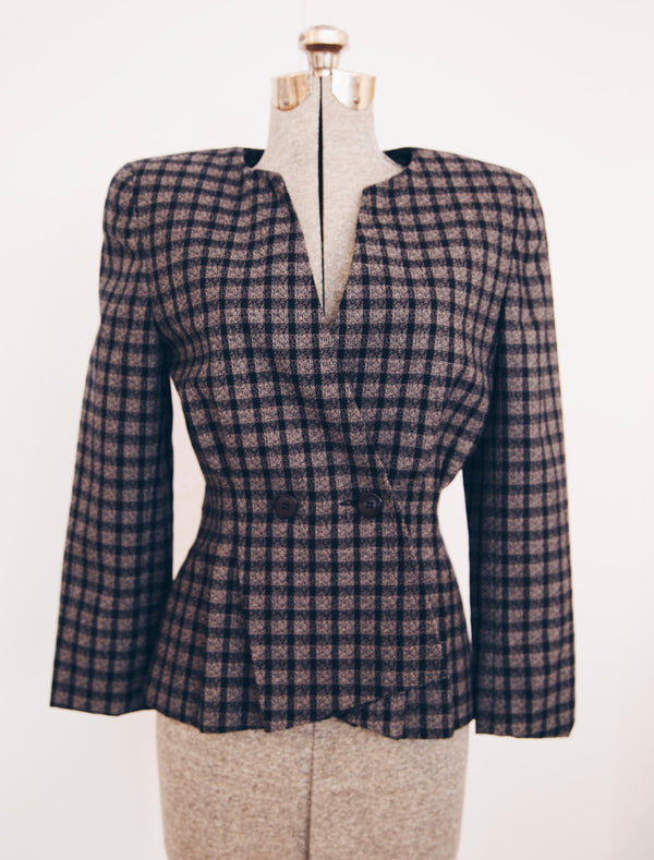 1980's Short Checkered Christian Dior Blazer