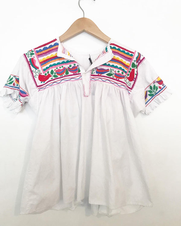 1970's White Mexican Embroidered Top