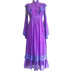 1970's Bell Sleeve Violet Prairie Dress
