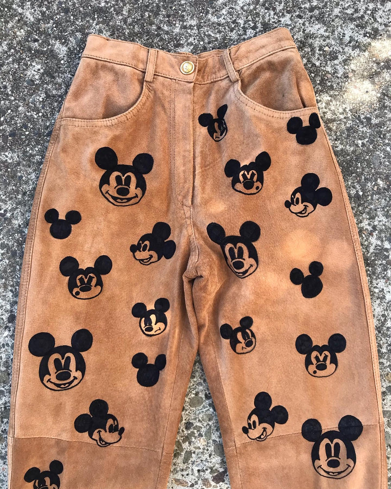 1990's Moschino Mickey Mouse Suede Pants