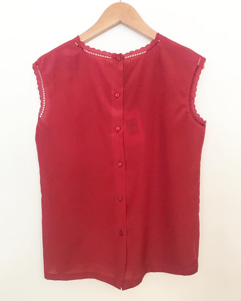 1960s Red Silk Top
