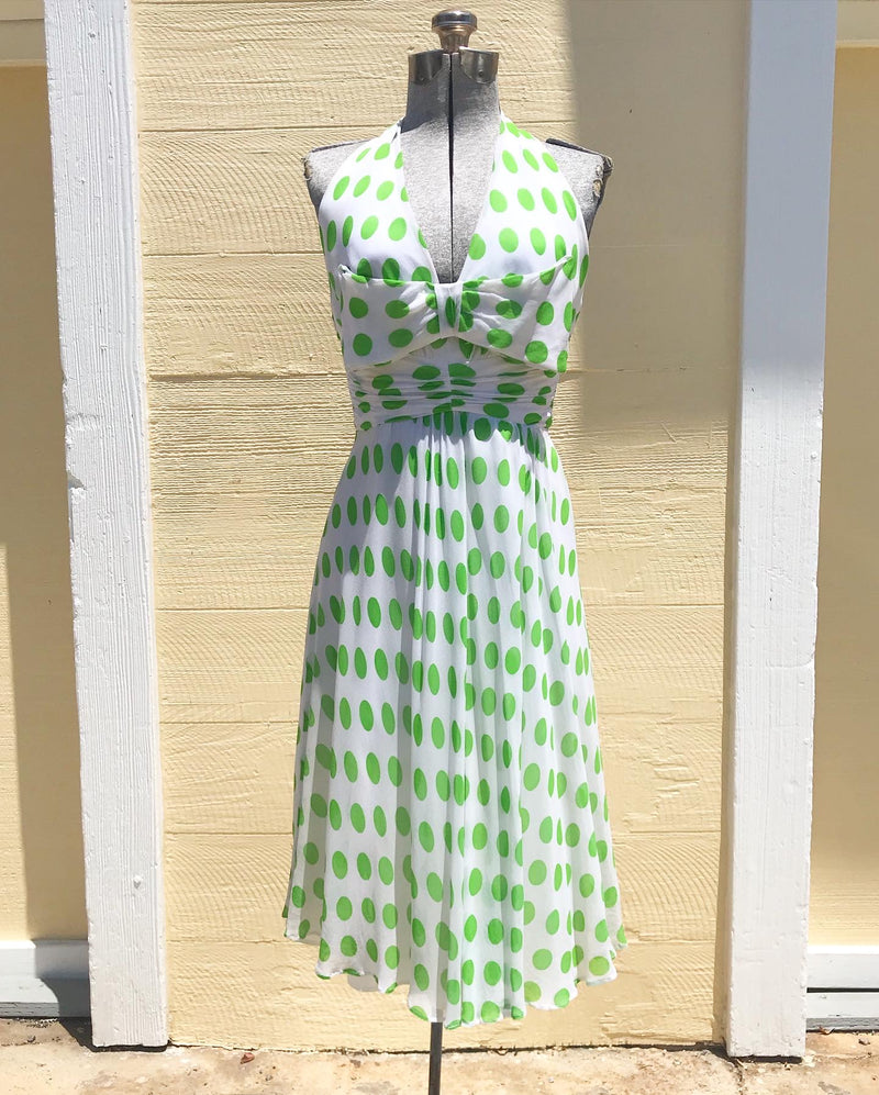 1950's White and Green Polka Dot Chiffon Dress
