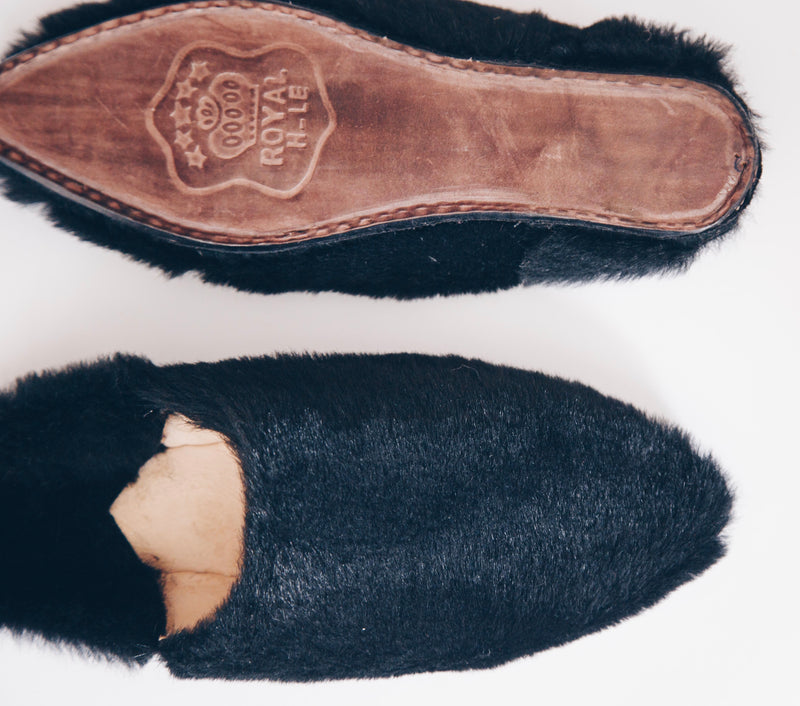 Fur and Leather Moroccan slippers