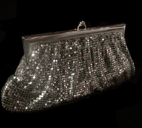 1980's Whiting and Davis Silver Mesh Clutch