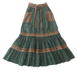 1980's Green Calico Gunne Sax Maxi Skirt