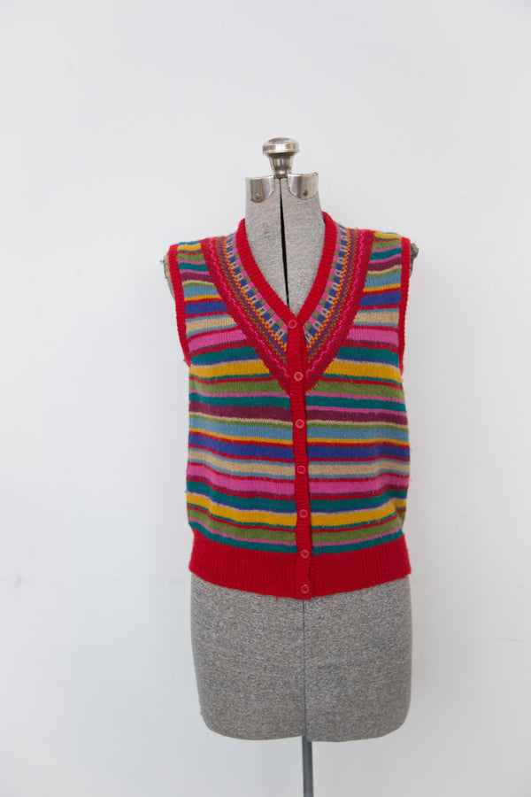 Vintage Harajuku Striped Sweater Vest