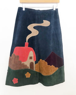 1970's Leather Skirt with House Applique
