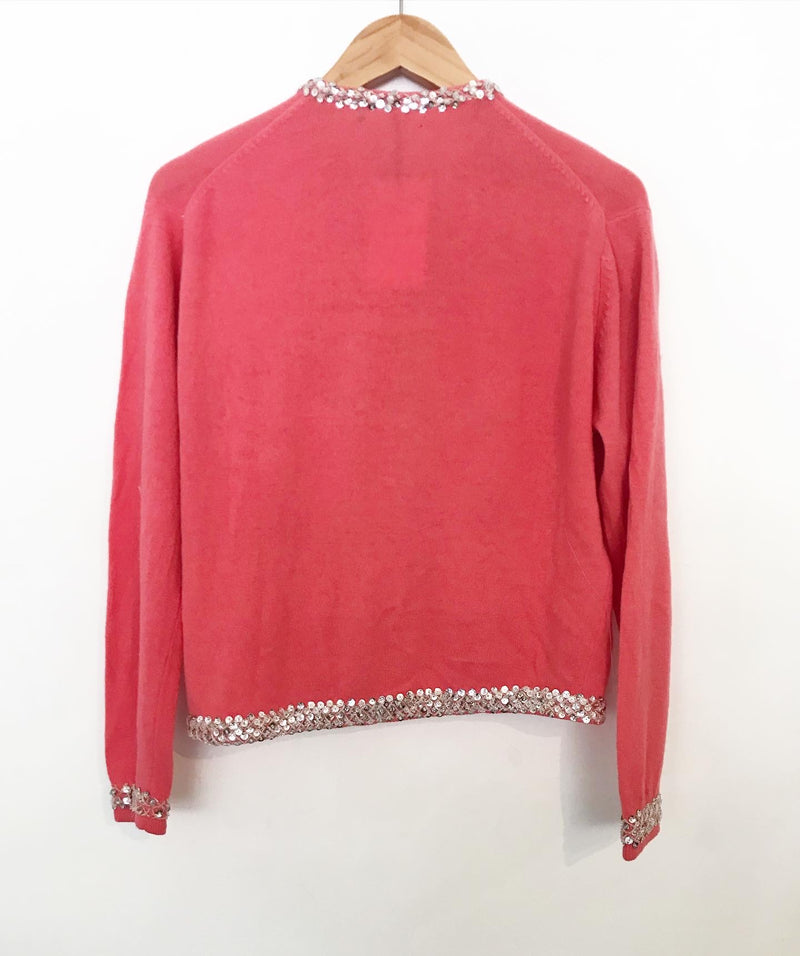 1960's Beaded Salmon Pink Cashmere Cardigan