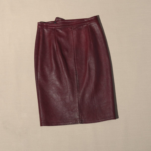 80's Maroon Leather Skirt with Asymmetrical Snaps