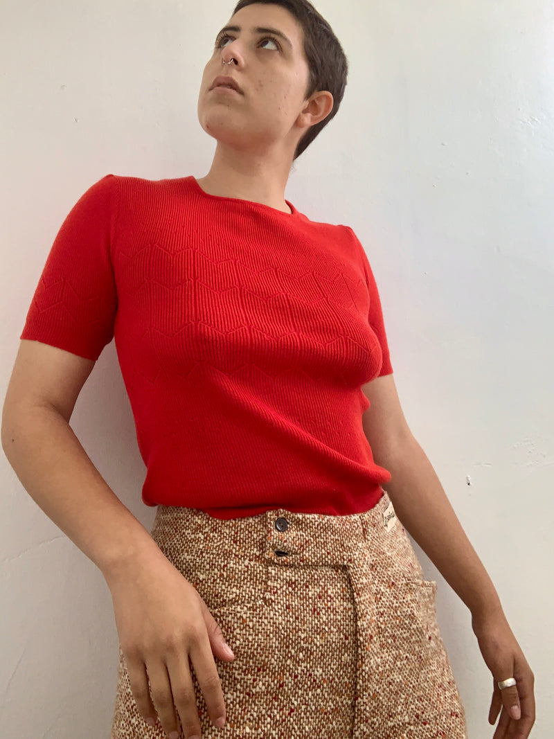 1960's Red Cropped Sweater