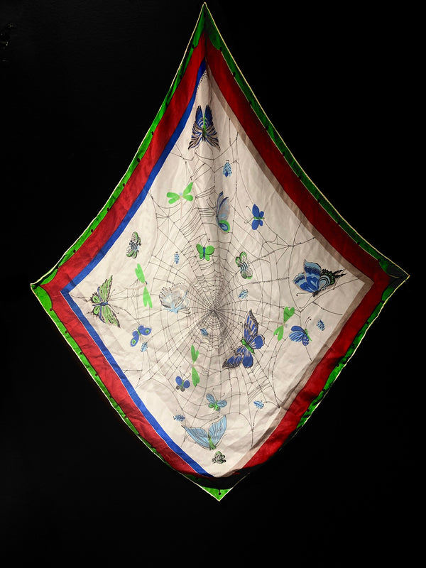 Vintage Butterfly and Spiderweb Silk Scarf