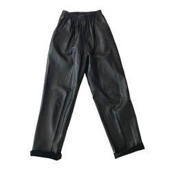 80's Baggy Elastic Waist Leather Pants