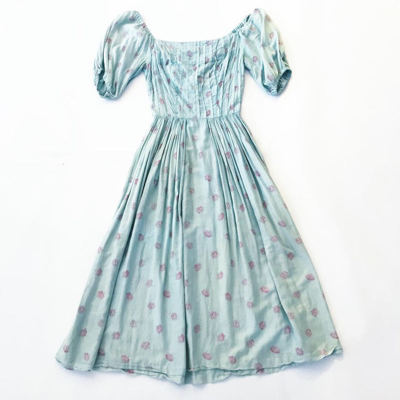 1950's Overdyed Day Dress with Pink Flowers