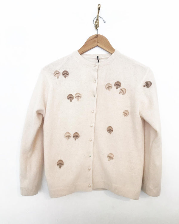 1960's Creme Cashmere Cardigan with Mushrooms