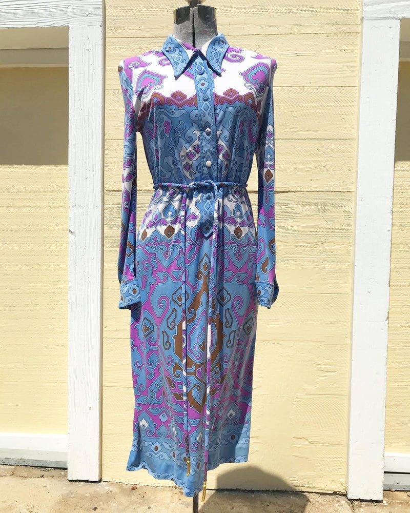 1970's Leonard of Paris Silk Jersey Dress