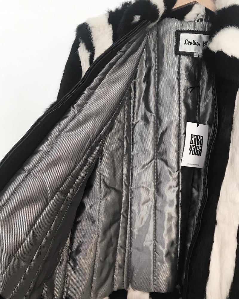 1980's Black and White Vertical Stripe Rabbit Fur Coat