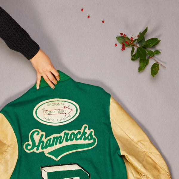 1970's Green and White Shamrock Varsity Jacket