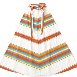 1970's White Chevron Stripe Maxi Skirt