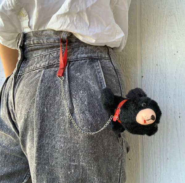 Upcycled 1950s bear on a leash coin purse