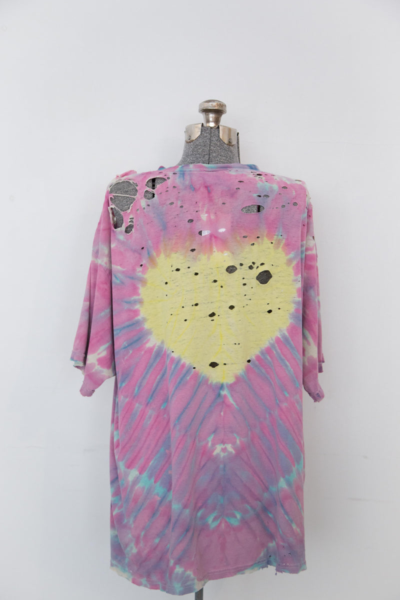 Vintage Shredded Tie-dye Heart Tshirt