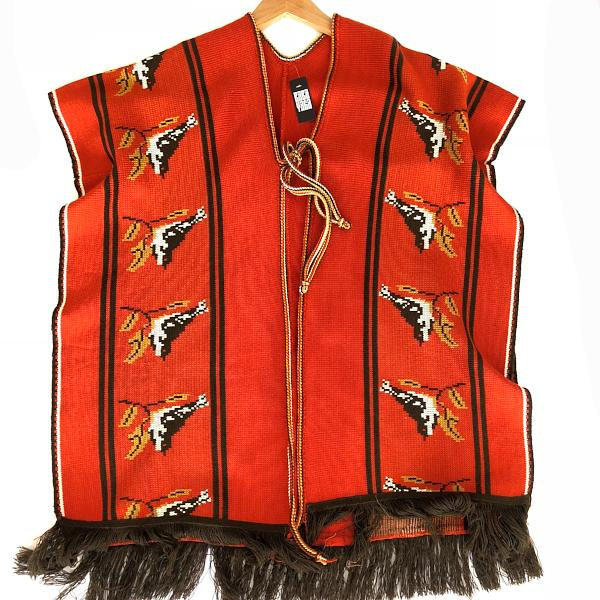 Orange Fringed Poncho with Birds