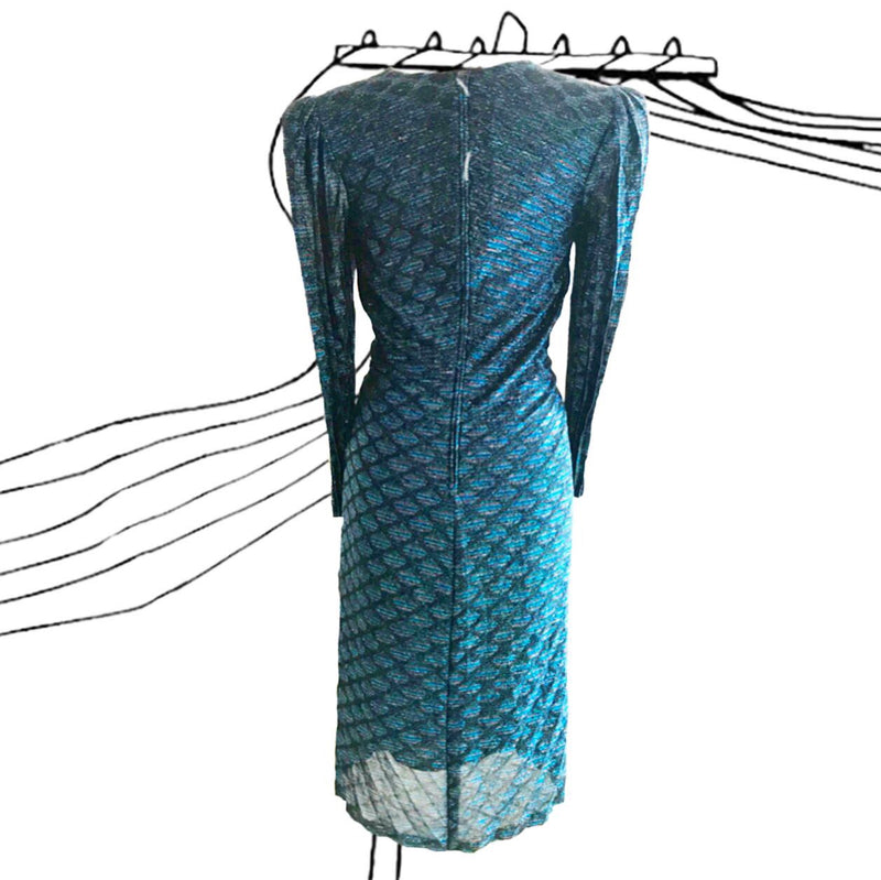1980's Blue Lurex Pleated Disco Dress