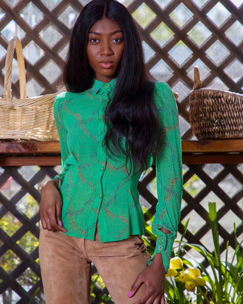 1970's Green Floral Sheer Crepe Blouse