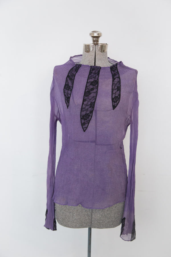 1960's Sheer Purple blouse with Black Lace