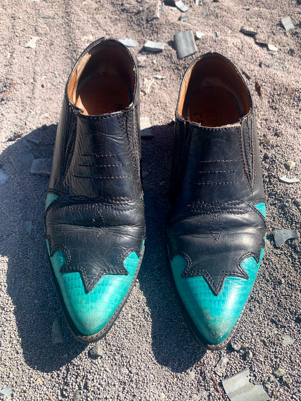 1980s Leather Western Mules