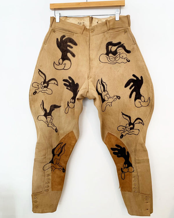 Upcycled vintage Wile E. Coyote & Roadrunner Riding Pants