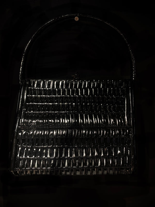1960s Black Woven Wicker Purse