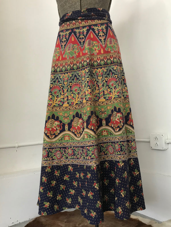 Indian Maxi Wrap Skirt in Blue, Green & Red